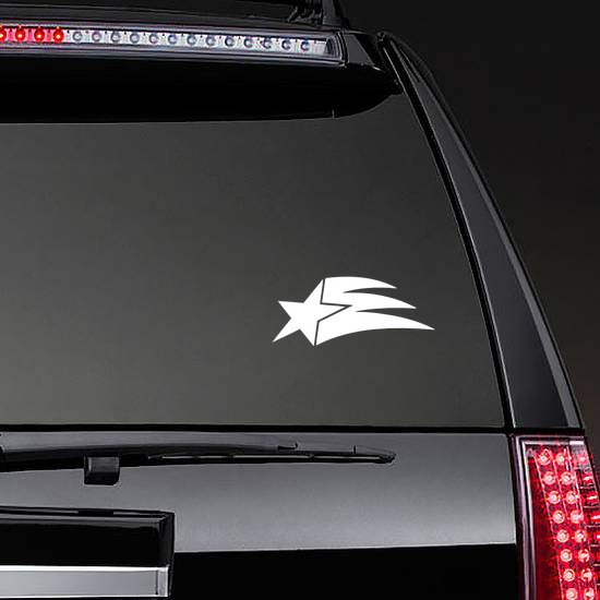 Shooting Star With Small Train Sticker on a Rear Car Window example