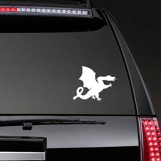 Silly Dragon Sticking Out Tongue Sticker on a Rear Car Window example