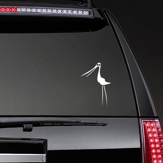 Silly Stork Bird Sticker on a Rear Car Window example