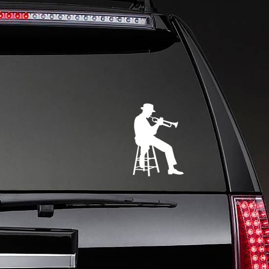 Sitting Musical Trumpet Player Sticker on a Rear Car Window example