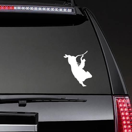 Skillful Rodeo Cowboy Bull Rider Sticker on a Rear Car Window example