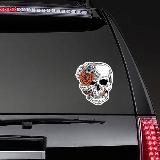 Skull With Side Bow Of Flowers Sticker on a Rear Car Window example