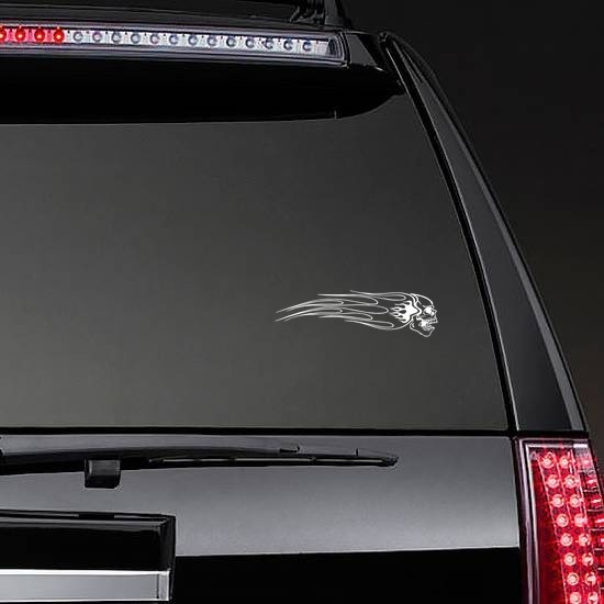 Skull With Flames Going To The Right Sticker on a Rear Car Window example
