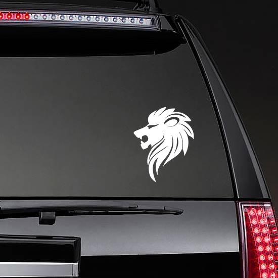 Sleek Lion Head Sticker on a Rear Car Window example