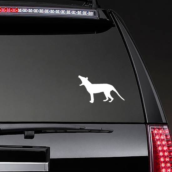 Small Wolf Coyote Howling Sticker on a Rear Car Window example