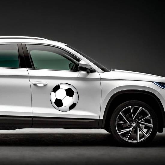 Soccer Ball Printed Full Color Magnet on a Car Side example