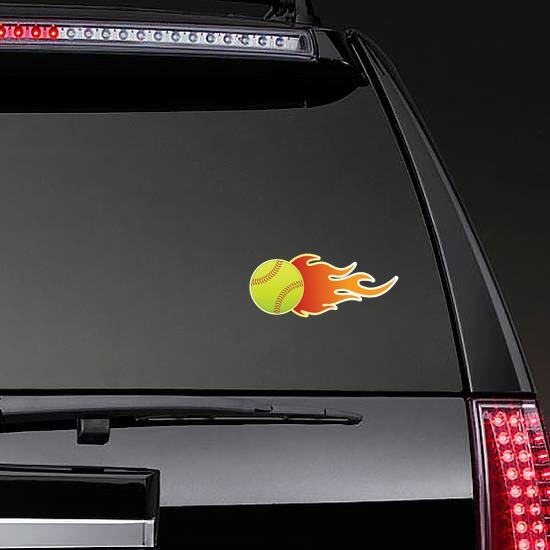 Softball On Fire Sticker on a Rear Car Window example