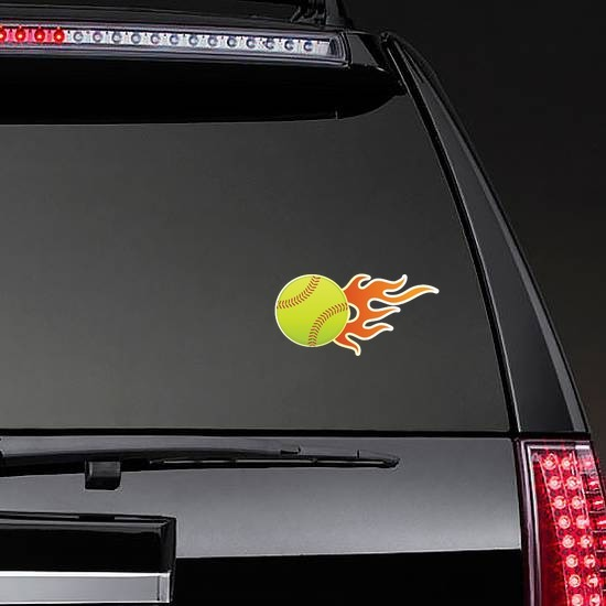 Softball With Short Flames Sticker on a Rear Car Window example