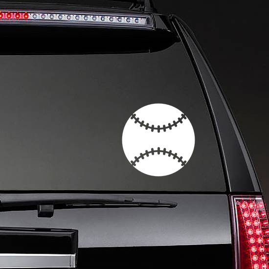 Solid Baseball or Softball Sticker on a Rear Car Window example