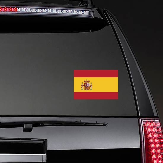 Spain Flag Sticker on a Rear Car Window example