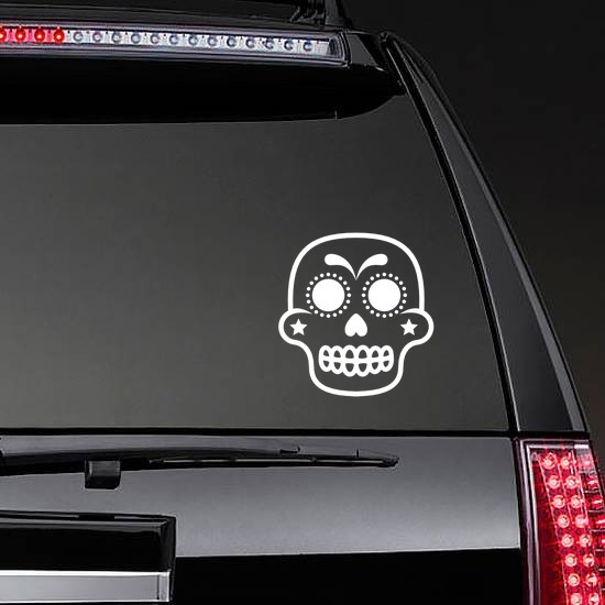 Star Cheeks Decorative Skull Sticker on a Rear Car Window example