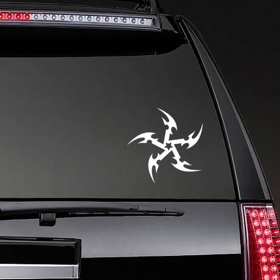 Star Throwing Knife Sticker on a Rear Car Window example