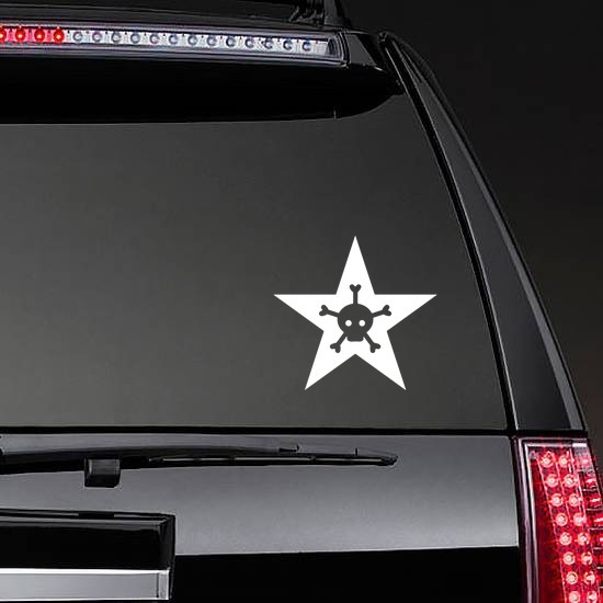 Star With Skull And Five Bones Sticker on a Rear Car Window example