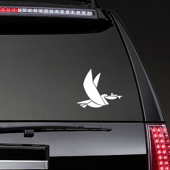 Stork Carrying Fish Sticker on a Rear Car Window example
