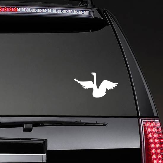 Swan Singing Sticker on a Rear Car Window example