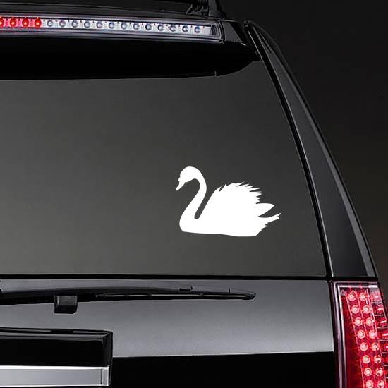 Swan Sticker on a Rear Car Window example