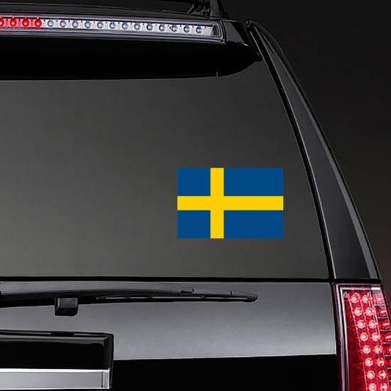 Sweden Flag Sticker on a Rear Car Window example