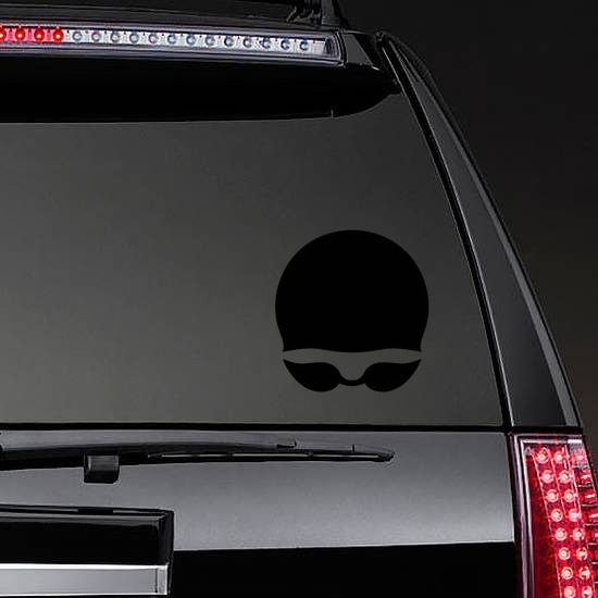 Swim Cap and Goggles Swimming Sticker on a Rear Car Window example