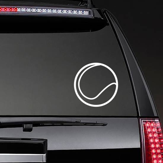 Tennis Ball Line Drawing Sticker on a Rear Car Window example