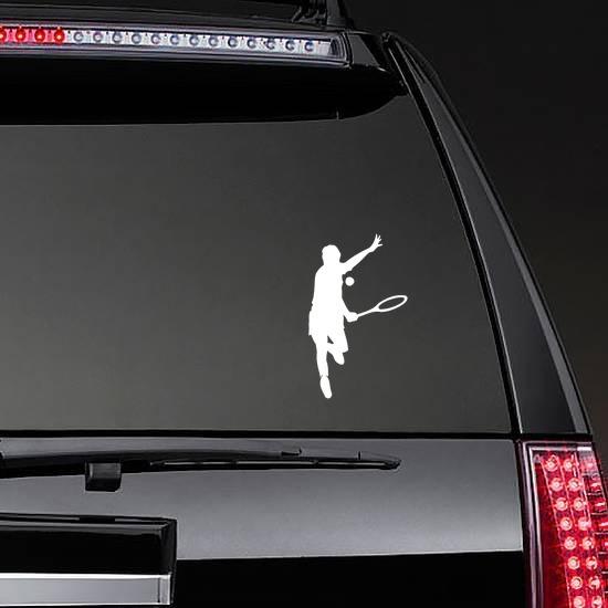 Tennis Player Hitting Ball Sticker on a Rear Car Window example