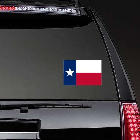 Texas Tx State Flag Sticker on a Rear Car Window example