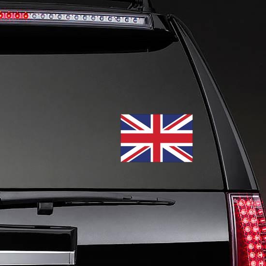 The United Kingdom Flag Sticker on a Rear Car Window example