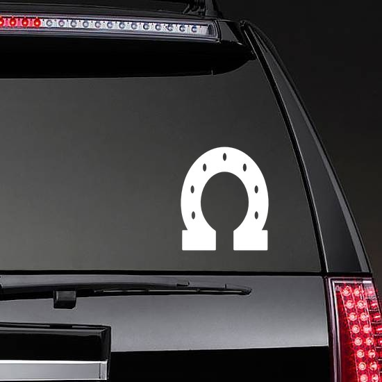 Thick Horseshoe Sticker on a Rear Car Window example