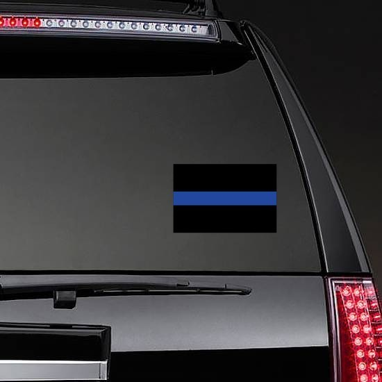 Thin Blue Line Flag Sticker on a Rear Car Window example