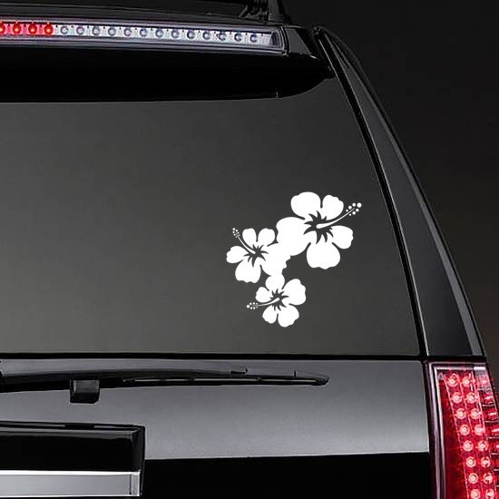 Three Lovely Hibiscus Flowers Corner Sticker on a Rear Car Window example