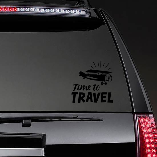 Time To Travel Sticker on a Rear Car Window example