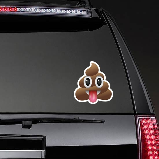 Tongue Stuck Out Poop Emoji Sticker on a Rear Car Window example