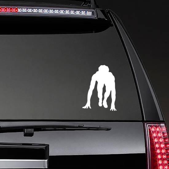 Track & Field Runner Sticker on a Rear Car Window example