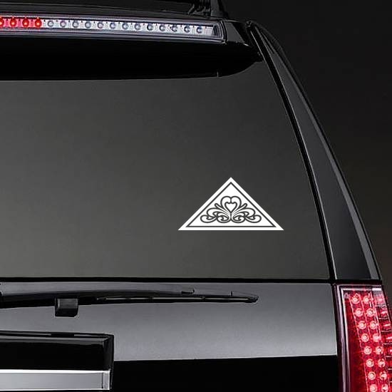 Triangle With Design Sticker on a Rear Car Window example