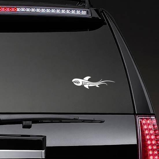 Tribal Shark Fish With Sharp Teeth Sticker on a Rear Car Window example