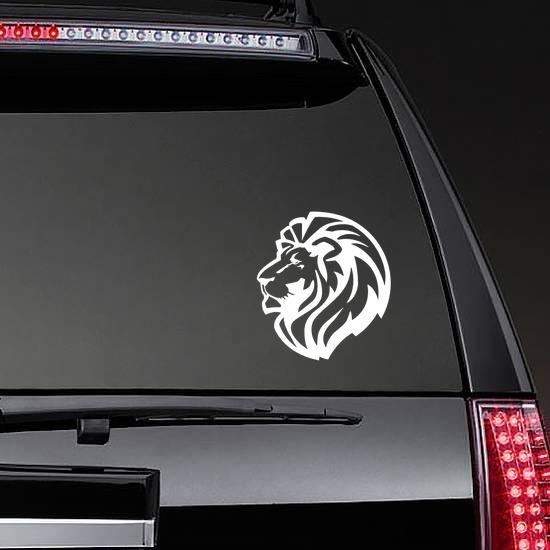 Triumphant Lion Head Sticker on a Rear Car Window example