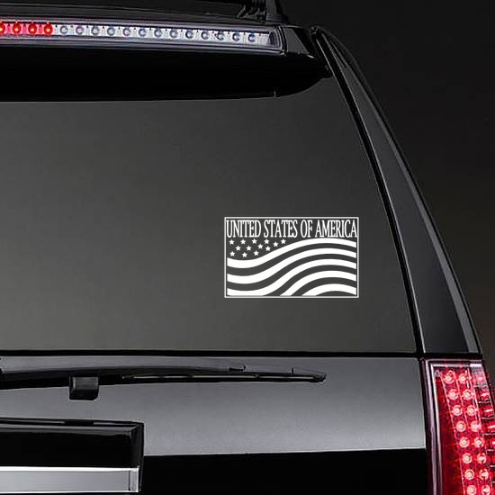 United States Of America Sticker on a Rear Car Window example