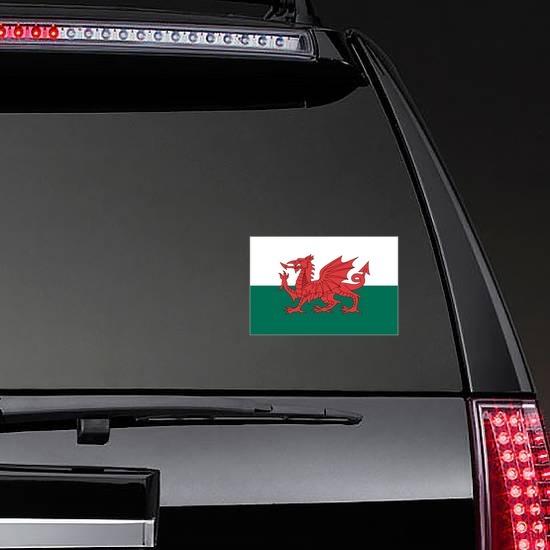 Wales Flag Sticker on a Rear Car Window example