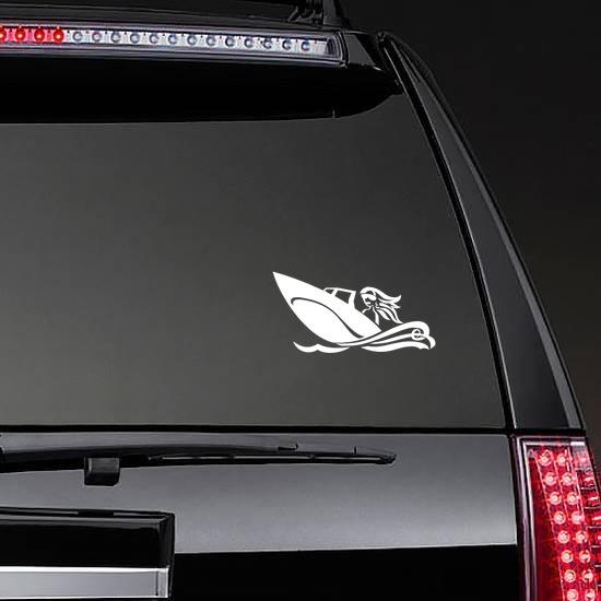 Woman Boating Sticker on a Rear Car Window example