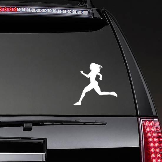 Women Sprinting Sticker on a Rear Car Window example