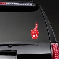 #1 Fan Foam Finger Sticker on a Rear Car Window example