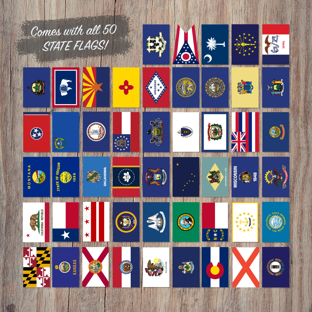 50 USA State Flag Stickers - 50 Piece Bundle on a Concrete example