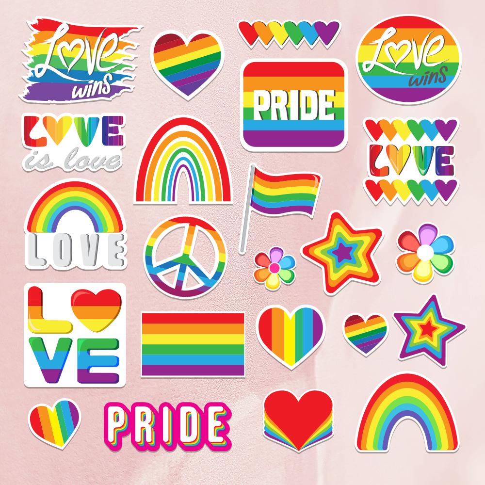 Pride Sticker Bundle on a Concrete example