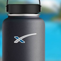 Space X Icon Sticker on a Water Bottle example