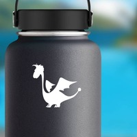 Adorable Cartoon Dragon Sticker on a Water Bottle example