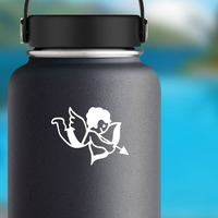 Adorable Cupid Sticker on a Water Bottle example