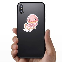 Adorable Pink Jellyfish Sticker on a Phone example