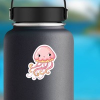 Adorable Pink Jellyfish Sticker on a Water Bottle example