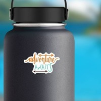 Adventure Awaits Text Sticker on a Water Bottle example