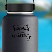 Adventure Is Calling Sticker on a Water Bottle example