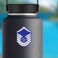 Air Force Rank E-7 Master Sergeant  Sticker on a Water Bottle example